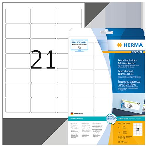 Avtagbara etiketter Herma 63,5x38,1 mm 525/fp