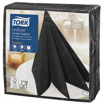 Servett Tork LinStyle 39x39 cm svart 50/fp