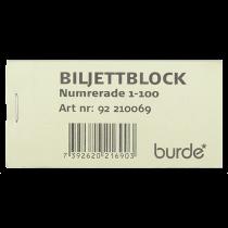 Biljettblock 1-100 grön