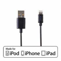 Kabel USB-A till Lightning Deltaco svart 1 m