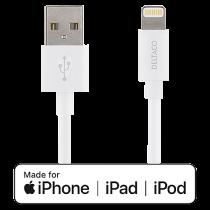 Kabel USB-A till Lightning Deltaco vit 1 m