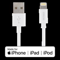 Kabel USB-A till Lightning Deltaco vit 2 m