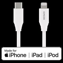 Kabel USB-C till Lightning Deltaco vit 1 m