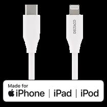 Kabel USB-C till Lightning Deltaco vit 2 m