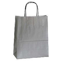 Bärkasse papper tvinnade handtag 320x120x410mm grå 25/fp