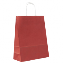 Bärkasse papper tvinnade handtag 230x100x320mm röd 25/fp